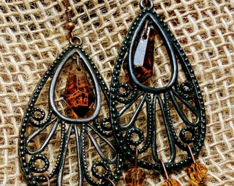 Brown fancy earrings