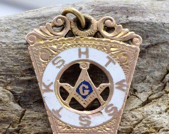"Vintage* ""HTWSSTKS"" Blue Lodge Masonic Keystone Fob - 10k Gold **FREE SHIPPING**"