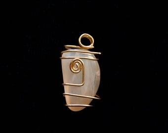 Brass Wrapped Moonstone Pendant