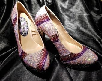 Handmade fully crystallized stripe pattern heels drag