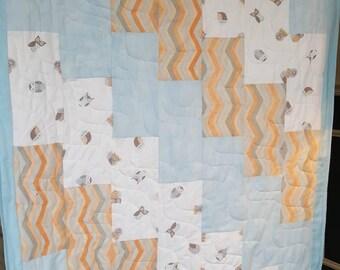 Modern owl blanket- blue, orange