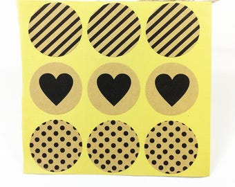 Vintage Fashion Heart Dots Twill Series Round Kraft Paper Sticker For Handmade Products Gift 90PCS lot