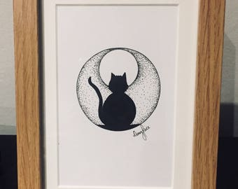 Hand drawn framed illustration of a cat and moon