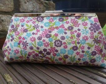 Handmade Floral Clutch bag, handbag, evening bag, make-up bag, multi coloured