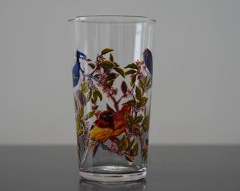 set of 6 stemmed glasses luminarc France birds exotic 70s vintage