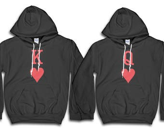 Couple Hoodie, Playing Cards Hoodie, King Of Hearts, Queen Of Hearts, Couples Shirts, Valentine Shirt, Gift For Her, Gift For Him