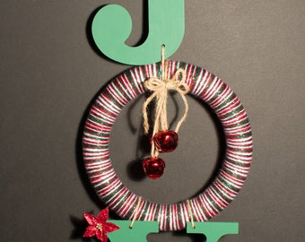 JOY Christmas Door Hanger with Yarn Wreath