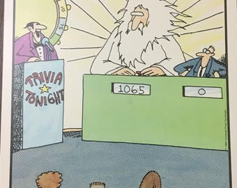 """The Far Side by Gary Larson Trivia Tonight 9.5"""" x 13"""" poster"""