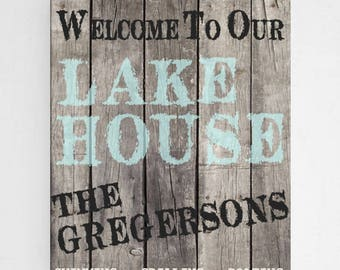 Personalized Wood Lake House Canvas Sign - Lake Home Canvas Print - Personalized Cabin Print - Canvas Print - Family Lake House Wall Decor