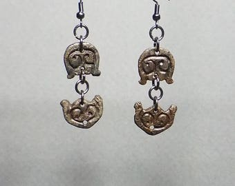 Ancient CELTIC earrings, authentic, real, genuine ARTIFACTS, over 2,000 years old, artifacts, designer, unique, statement, wearable art.