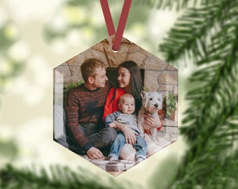 Personalised Glass Photo Christmas Tree Ornaments