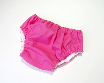 Fuchsia bloomers-Solid color diaper cover-Baby girl pink bloomers-Baby cotton nappy cover-Girl pink diaper cover-Baby girl summer clothes