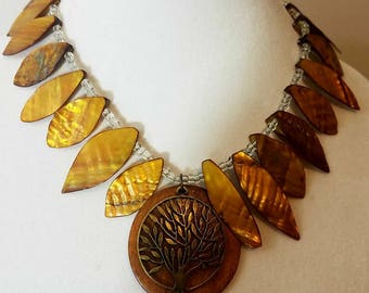 Statement Necklace, Brown Statement Necklace, Tree of Life Necklace, Beaded Necklace