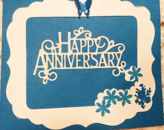 Happy Anniversary Greeting Card, White on Turquoise Handmade  Card, Made in the USA, #295