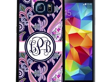 Monogrammed Rubber Case For Samsung S5, S6, S6 edge, S6 Edge Plus, S7, S7 Edge,  8, 8 plus - Navy Pink Paisley
