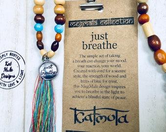 Mala Necklace, 108 bead mala necklace, mala beads, yoga necklace, yoga jewelry, mindfulness, meditation, yoga, boho jewelry, just breath