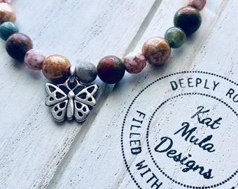 Infinity Bracelet, butterfly, hand crafted, Yoga, mala, bracelet, mala beads, yoga beads, jewelry, mindfulness, gift for her, valentine
