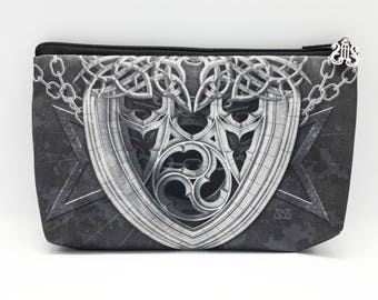 Gothic Armor Cosmetic Bag, Gothic Knight Zipper Pouch Gothic Gifts, Medieval Goth Make-Up Bag, Gothic Aristocrat Small Makeup Case, Vampire