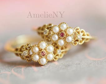 Pearl 14k gold ruby ring