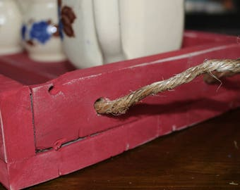 Red Serving Tray with Rope Handles