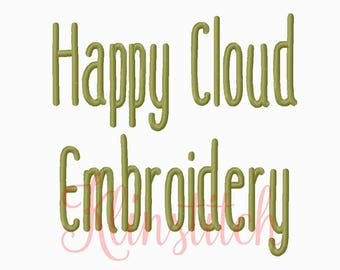 50% Sale!! Happy Cloud Embroidery Fonts 5 Sizes Fonts BX Fonts Embroidery Designs PES Fonts Alphabets - Instant Download