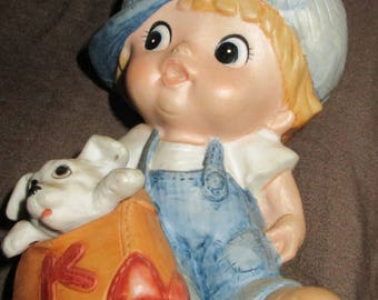 Vintage homco boy with puppy dog figurine Taiwan porcelain 1439
