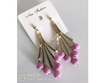 Spring New Product: Pink Ball Pendant Earrings