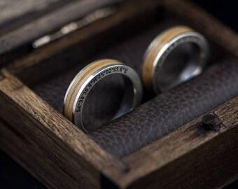 Silver wedding rings - Wood inlay rings - Anniversary rings - Engraved coordinates rings - Wooden rings - Oak inlay rings - Engraved rings