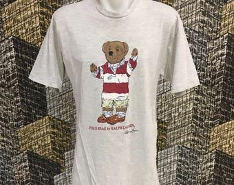 Vintage Polo bear rugby ralph lauren shirt size M