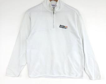 Benetton formula 1 Sweatshirt half zipper Big Logo Embroidery Sweat Medium Size Jumper Pullover Jacket Sweater Shirt Vintage 90's