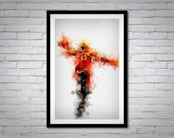 Lebron James Cleveland Cavaliers Dunk Portrait, Sports Print Art 11x17