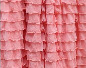 Light Coral Crib Skirt - Ruffle Crib Skirt- Light Coral Crib Skirt - Baby Bed Skirt- Long Crib Skirt - Light Coral Adjustable Crib Skirt