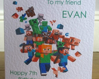 Personalised Handmade Minecraft Unisex Birthday Card Any Text