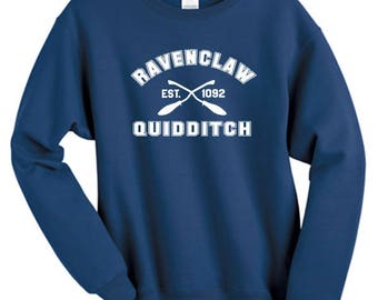 Ravenclaw Quidditch Inspired Harry Potter Sweater - Harry Potter Sweatshirt - Ravenclaw Hufflepuff Gryffindor Slytherin