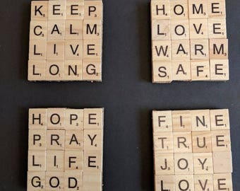 Set of 4 Home Themed Scrabble Coasters on cork backing