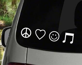 Peace, Love, Happiness, Music Decal