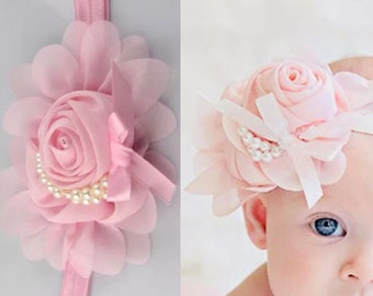 Baby Chiffon Flower Pearl Headband Toddler Classic Bow Accessory