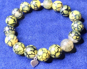 Dragon Vein Agate Stretchy Bracelet With Sterling Silver Heart Charm - Friendship