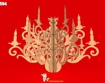Vector pour la décoration de chandelier de découpe au laser