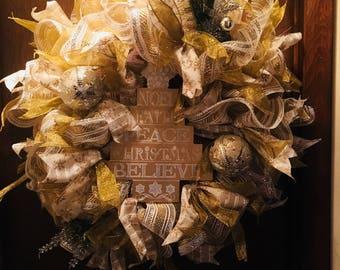 Gold rejoice wreath