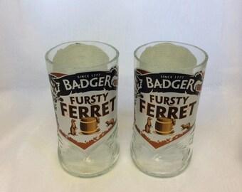 Badger Fursty Ferret Handmade Recycled Beer Bottle Drinking Glasses