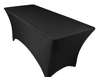 Exceptionnel 6 Ft Rectangular Spandex Fitted Stretchable Black Tablecloth For Banquets,  Weddings U0026 Parties