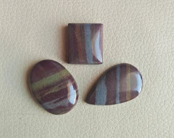Natural Brown Banded Jasper 03 Piece Jasper Cabochons, Brown Banded Jasper Weight 185 Carat and Size 37x27x10, 27x23x10, 38x25x8 MM Approx.