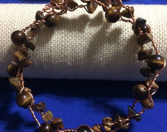 Tigers eye recycled twisted copper bracelet