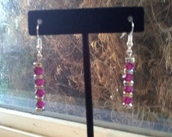 Handcrafted pink and rondelles drop earrings
