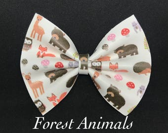 Forest Animal- Faux Leather Bow