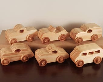 Wooden Toy Car - PlayPals | Natural Finish | PushPull Cars | Kids Toys | Classic Racing Cars | Montessori | Childs Birthday Gift