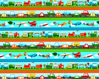 On The Go, Border Print, Wilmington Prints, Childrens Fabric, Quilting Fabric