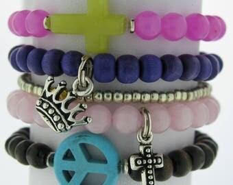 Crown and Cross Charm Bracelet Set