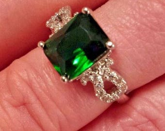 Emerald Quartz & White Topaz Sterling Silver Plated Gemstone Ring, 4 ct.   Size 7